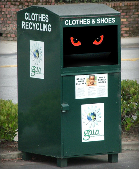 "clothing bin cult's clothes recycling bin with ""gaia"" and ""Campus California"" labels"